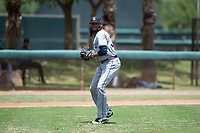 AZL Padres 2 relief pitcher Vijay Miller (38) prepares to throw to first base during an Arizona League game against the AZL Dodgers at Camelback Ranch on July 4, 2018 in Glendale, Arizona. The AZL Dodgers defeated the AZL Padres 2 9-8. (Zachary Lucy/Four Seam Images)