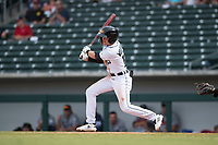 Mesa Solar Sox left fielder Daniel Woodrow (19), of the Detroit Tigers organization, follows through on his swing during an Arizona Fall League game against the Peoria Javelinas on October 11, 2018 at Sloan Park in Mesa, Arizona. The Solar Sox defeated the Javelinas 10-9. (Zachary Lucy/Four Seam Images)