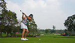CHON BURI, THAILAND - FEBRUARY 16:  Maria Hjorth of Sweden tees off on the 15th hole during day one of the LPGA Thailand at Siam Country Club on February 16, 2012 in Chon Buri, Thailand.  Photo by Victor Fraile / The Power of Sport Images