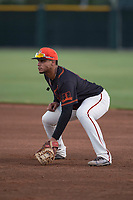 AZL Giants Black first baseman Angeddy Almanzar (12) during an Arizona League game against the AZL Athletics at the San Francisco Giants Training Complex on June 19, 2018 in Scottsdale, Arizona. AZL Athletics defeated AZL Giants Black 8-3. (Zachary Lucy/Four Seam Images)