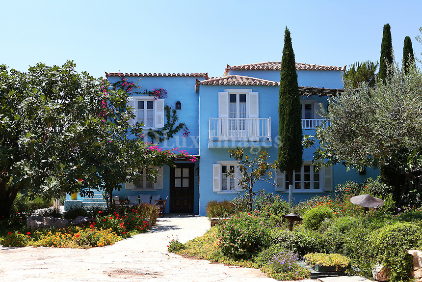 traditional house with light blue walls