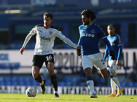 9th January 2021; Goodison Park, Liverpool, Merseyside, England; English FA Cup Football, Everton versus Rotherham United; Dan Barlaser of Rotherham United takes on Andre Gomes of Everton
