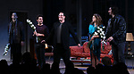 """David Furr, Brandon Uranowitz, Michael Mayer, Keri Russell and Adam Driver during the Broadway Opening Night Curtain Call for Landford Wilson's """"Burn This""""  at Hudson Theatre on April 15, 2019 in New York City."""