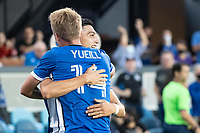 SAN JOSE, CA - AUGUST 17: Cristian Espinoza #10 of the San Jose Earthquakes celebrates his goal during a game between San Jose Earthquakes and Minnesota United FC at PayPal Park on August 17, 2021 in San Jose, California.
