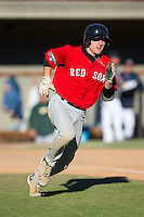 Jake Washer (32) of West Stokes High School in King, North Carolina playing for the Boston Red Sox scout team at the South Atlantic Border Battle at Doak Field on November 2, 2014.  (Brian Westerholt/Four Seam Images)
