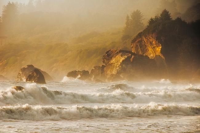 Sunset at False Klamath Bay, Redwood National Park, California.