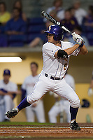 LSU Tigers outfielder Chris Sciambra #5 at bat against the Mississippi State Bulldogs during the NCAA baseball game on March 16, 2012 at Alex Box Stadium in Baton Rouge, Louisiana. LSU defeated Mississippi State 3-2 in 10 innings. (Andrew Woolley / Four Seam Images)