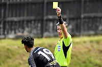 Haris Zeb of Team Wellington is seen receiving a yellow card during the ISPS Handa Men's Premiership - Team Wellington v Canterbury Utd at David Farrington Park, Wellington on Saturday 19 December 2020.<br /> Copyright photo: Masanori Udagawa /  www.photosport.nz
