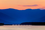 The Ashokan Reservoir and the Reservoir Road Bridge at sunset , Ulster County, New York