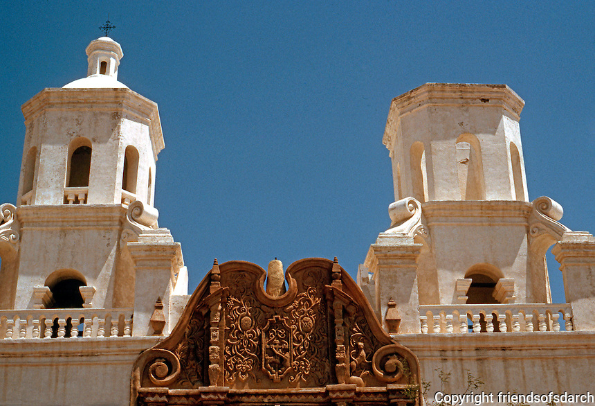 AZ: Tucson--San Xavier Del Bac, Belfries. Why the belltower on right was not completed is not known. Photo '96.