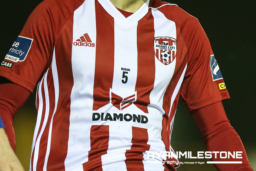General view of the Derry City jersey remembering the late Ryan McBride during the SSE Airtricity League Premier <br /> Division game between Waterford FC and Derry City on Friday 16th February 2018 at the RSC Waterford. Photo By: Michael P Ryan