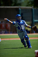 AZL Royals catcher Ricardo Sanchez (9) throws to first base during an Arizona League game against the AZL Dodgers Lasorda on July 4, 2019 at Camelback Ranch in Glendale, Arizona. The AZL Royals defeated the AZL Dodgers Lasorda 4-1. (Zachary Lucy/Four Seam Images)