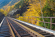 Willey Brook Trestle along the old Maine Central Railroad in Crawford Notch State Park of the New Hampshire White Mountains during the autumn months. This railroad is now used by the Conway Scenic Railroad.