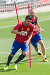 David Villa and Andres Iniesta during the training of the spanish national football team in the city of football of Las Rozas in Madrid, Spain. August 28, 2017. (ALTERPHOTOS/Rodrigo Jimenez)