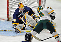 16 February 2008: Merrimack College Warriors' goaltender Andrew Braithwaite, a Sophomore from Kingston, Ontario, makes a third period save against the University of Vermont Catamounts at Gutterson Fieldhouse in Burlington, Vermont. The Catamounts defeated the Warriors 2-1 for their second win of the 2-game weekend series...Mandatory Photo Credit: Ed Wolfstein Photo