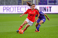 Benfica's midfielder Andreia Faria (6) and Anderlecht midfielder Kassandra Missipo (12) pictured during a female soccer game between RSC Anderlecht Dames and Portugese Benfica Ladies  in the second qualifying round for the Uefa Womens Champions League of the 2020 - 2021 season , Wednesday 18 th of November 2020  in ANDERLECHT , Belgium . PHOTO SPORTPIX.BE | SPP | STIJN AUDOOREN