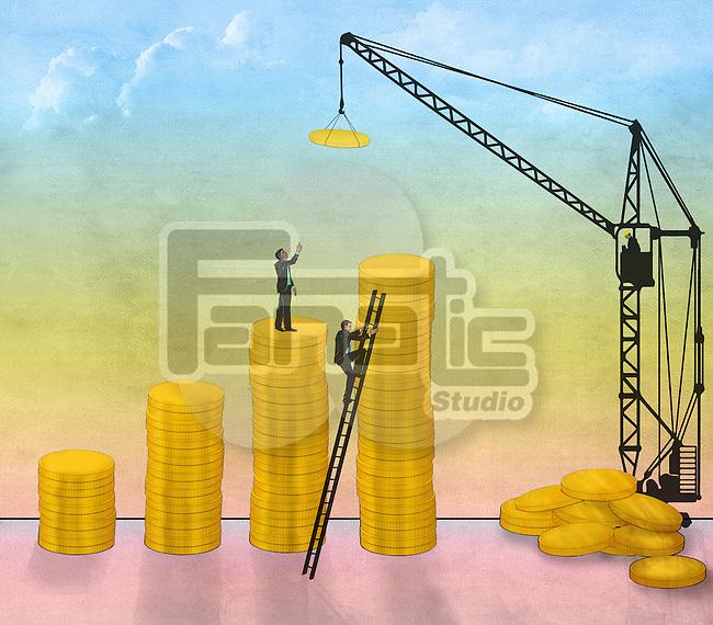 Illustrative image of businessmen constructing coin bar graph representing business development