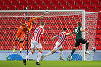 23rd December 2020; Bet365 Stadium, Stoke, Staffordshire, England; English Football League Cup Football, Carabao Cup, Stoke City versus Tottenham Hotspur; Goalkeeper Andy Lonergan of Stoke City punches the ball clear