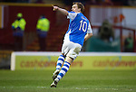 Motherwell v St Johnstone.....20.01.13      SPL.Liam Craig celebrates his goal.Picture by Graeme Hart..Copyright Perthshire Picture Agency.Tel: 01738 623350  Mobile: 07990 594431