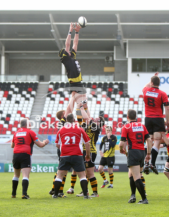 2014 McCAMBLEY CUP FINAL - Ards 4 vs Cookstown | Saturday 26th April 2014<br /> <br /> Henry Stewart secures this lineout ball during the 2014 McCambley Cup Final between Ards 4's and Cookstown at Ravenhill Stadium, Belfast.<br /> <br /> Mandatory Credit - Photo by John Dickson - DICKSONDIGITAL