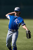 Kansas City Royals Cody Jones (22) warms up before an instructional league game against the San Francisco Giants on October 22, 2015 at the Giants Baseball Complex in Scottsdale, Arizona.  (Mike Janes/Four Seam Images)