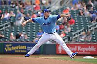 Omaha Storm Chasers starting pitcher Trevor Oaks (34) throws a pitch against the Oklahoma City Dodgers at Werner Park on June 24, 2018 in Omaha, Nebraska. Omaha won 8-0.  (Dennis Hubbard/Four Seam Images)