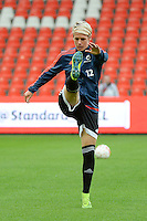 20151007 - LIEGE , BELGIUM : Frankfurt's Sophie Schmidt pictured during the female soccer match between STANDARD Femina de Liege and 1. FFC Frankfurt , in the 1/16 final ( round of 32 ) first leg in the UEFA Women's Champions League 2015 in stade Maurice Dufrasne - Sclessin in Liege. Wednesday 7 October 2015 . PHOTO DAVID CATRY