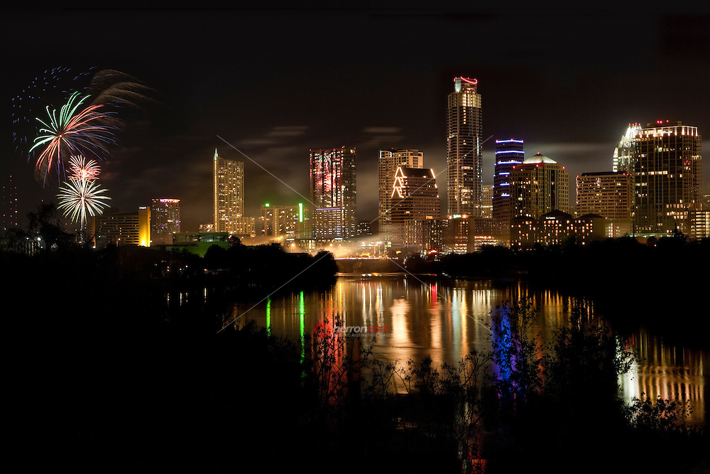Happy New Year Austin!!! Fireworks Display on Ladybird Lake in Austin, Texas