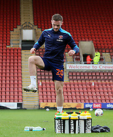 Blackpool's Oliver Turton during the pre-match warm-up <br /> <br /> Photographer Rich Linley/CameraSport<br /> <br /> The EFL Sky Bet League One - Crewe Alexandra v Blackpool - Saturday 17th October 2020 - Gresty Road - Crewe<br /> <br /> World Copyright © 2020 CameraSport. All rights reserved. 43 Linden Ave. Countesthorpe. Leicester. England. LE8 5PG - Tel: +44 (0) 116 277 4147 - admin@camerasport.com - www.camerasport.com