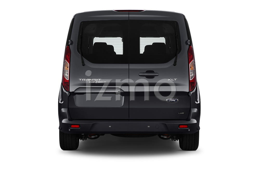 Straight rear view of 2019 Ford Transit-Connect XLT 5 Door Combi Rear View  stock images