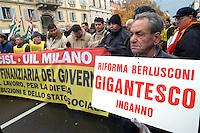 - national general strike against the financial law of the government Berlusconi, manifestation of Milan....- sciopero generale nazionale contro la legge finanziaria del governo Berlusconi, manifestazione di Milano
