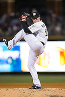Charlotte Knights starting pitcher Shawn Haviland (28) in action against the Scranton/Wilkes-Barre RailRiders at BB&T BallPark on May 1, 2015 in Charlotte, North Carolina.  The RailRiders defeated the Knights 5-4.  (Brian Westerholt/Four Seam Images)