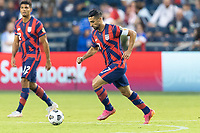 KANSAS CITY, KS - JULY 11: Sebastian Lletget #17 of the United States moves with the ball during a game between Haiti and USMNT at Children's Mercy Park on July 11, 2021 in Kansas City, Kansas.