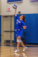 26 October 2014: Yeshiva University Maccabee Outside Hitter Gabi Katz, a Senior from New Rochelle, NY, in action against the Maritime College Privateers, at the College of Mount Saint Vincent, in Riverdale, NY. The Privateers defeated the Maccabees 3-0 in the NCAA Division III Women's Volleyball Skyline matchup. Mandatory Credit: Ed Wolfstein Photo *** RAW (NEF) Image File Available ***