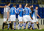 St Johnstone v Queens Park....25.09.12      Scottish Communities League Cup 3rd Round.Steven MacLean celebrates his first goal.Picture by Graeme Hart..Copyright Perthshire Picture Agency.Tel: 01738 623350  Mobile: 07990 594431