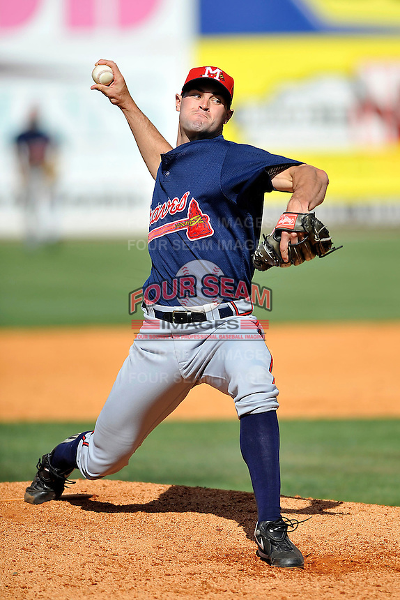 Michael Broadway #26 of the Mississippi Braves in action versus the West Tenn Diamond Jaxx at Pringles Park April 18, 2010 in Jackson, Tennessee. (Photo by Grant Halverson / Four Seam Images)
