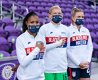 ORLANDO, FL - FEBRUARY 21: Margaret Purce #20 of the USWNT stands before the national anthem during a game between Brazil and USWNT at Exploria Stadium on February 21, 2021 in Orlando, Florida.