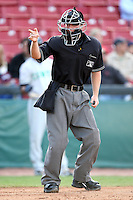 MiLB  Umpire Chris Tipton at Elfstrom Stadium, home of the Kane County Cougars, on April 23, 2011 in Geneva, Illinois. Photo by Chris Proctor/Four Seam Images