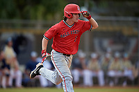 Ball State Cardinals left fielder Mack Murphy (12) runs to first base during a game against the Mount St. Mary's Mountaineers on March 9, 2019 at North Charlotte Regional Park in Port Charlotte, Florida.  Ball State defeated Mount St. Mary's 12-9.  (Mike Janes/Four Seam Images)