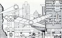 "Archigram:  ""Multi-Transport Mode-Node Zone Monorails:, 1963.  Ron Herron and Warren Chalk. Photo '77."