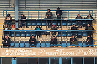 General view of the Press area at Gillingham FC during Gillingham vs Exeter City, Emirates FA Cup Football at the MEMS Priestfield Stadium on 28th November 2020