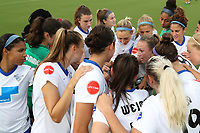Cary, North Carolina  - Saturday June 17, 2017: Boston Breakers huddle before a regular season National Women's Soccer League (NWSL) match between the North Carolina Courage and the Boston Breakers at Sahlen's Stadium at WakeMed Soccer Park. The Courage won the game 3-1.