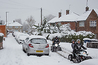 People find an alternative way of travel on quad bikes <br /> Weather - the Snowfall in High Wycombe, England on 10 December 2017. Photo by Andy Rowland.