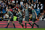 Real Sociedad's players celebrate goal during La Liga match between Real Madrid and Real Sociedad at Santiago Bernabeu Stadium in Madrid, Spain. January 06, 2019. (ALTERPHOTOS/A. Perez Meca)<br />  (ALTERPHOTOS/A. Perez Meca)