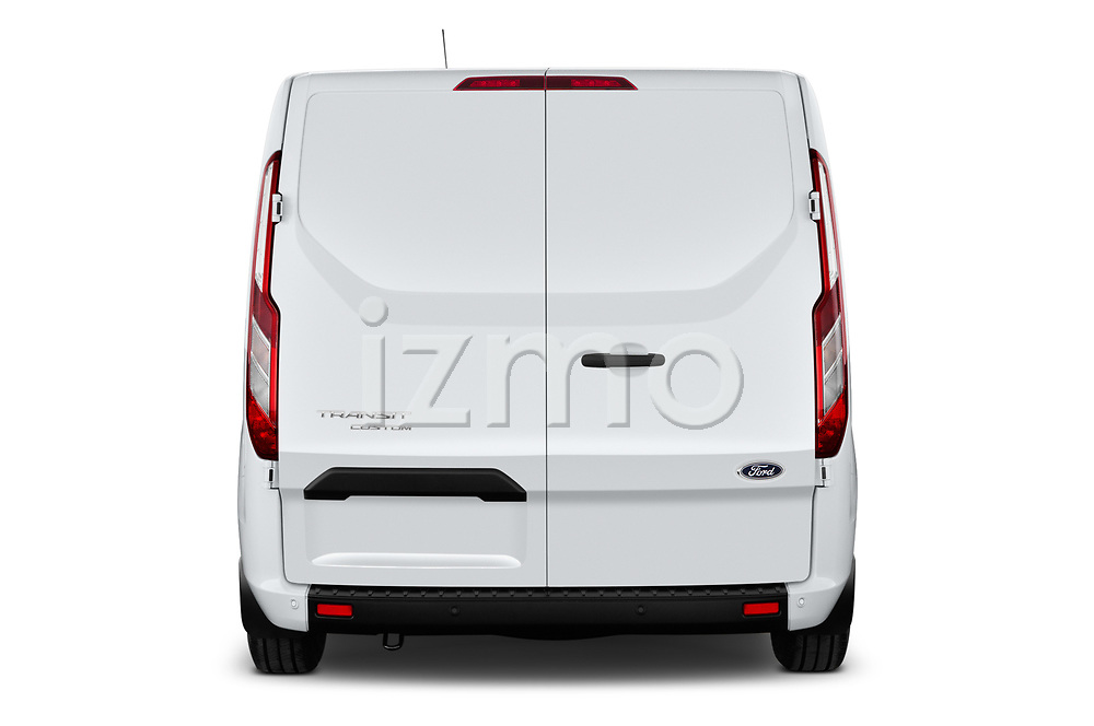 Straight rear view of 2021 Ford Transit-Custom Trend 4 Door Cargo Van Rear View  stock images