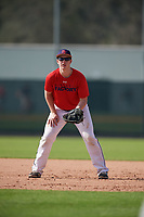 Matthew Rusch (67), from Oregon, Wisconsin, while playing for the Red Sox during the Baseball Factory Pirate City Christmas Camp & Tournament on December 28, 2017 at Pirate City in Bradenton, Florida.  (Mike Janes/Four Seam Images)