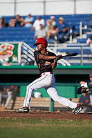 Batavia Muckdogs center fielder Brayan Hernandez (18) at bat during a game against the State College Spikes on July 7, 2018 at Dwyer Stadium in Batavia, New York.  State College defeated Batavia 7-4.  (Mike Janes/Four Seam Images)