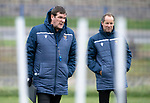 St Johnstone Training…25.10.19<br />Manager Tommy Wright pictured with Alec Cleland during training this morning at McDiarmid Park ahead of tomorrows game against Hamilton Accies.<br />Picture by Graeme Hart.<br />Copyright Perthshire Picture Agency<br />Tel: 01738 623350  Mobile: 07990 594431
