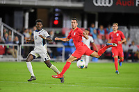 WASHINGTON, D.C. - OCTOBER 11: Daniel Lovitz #5 of the United States fly's through the air chasing the ball during their Nations League game versus Cuba at Audi Field, on October 11, 2019 in Washington D.C.