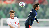 ST. GALLEN, SWITZERLAND - MAY 30: Brenden Aaronson #11 of the United States heads a ball during a game between Switzerland and USMNT at Kybunpark on May 30, 2021 in St. Gallen, Switzerland.
